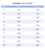アニコム損害保険が発表した『犬の名前ランキング2012』TOP10