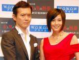 WOWOWの連続ドラマW『女と男の熱帯』の試写で舞台挨拶に出席した(左から)渡部篤郎、藤原紀香 (C)ORICON DD inc.