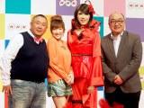 NHKの新年度番組のキャスター発表会見に出席した(左から)松村邦洋、山田まりや、ブルボンヌ、道谷眞平アナウンサー (C)ORICON DD inc.