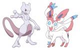 『劇場版ポケットモンスター ベストウイッシュ』 「神速のゲノセクト」に登場する「ミュウツー」(左)と「ピカチュウとイーブイ☆フレンズ」に登場する「ニンフィア」(C)Nintendo・Creatures・GAME FREAK・TV Tokyo・ShoPro・JR Kikaku(C)Pokemon(C)2013ピカチュウプロジェクト