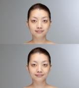 """ほうれい線の長さによる""""見た目年齢""""の違い(写真提供:ロート製薬)"""