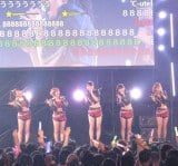 『ニコニコ超会議2』でのスペシャルライブに登場した℃-ute。背後のモニターには同時中継されたニコニコ動画のユーザーからのコメントが。(C)De-View