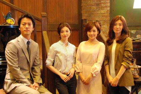 NHKドラマ『激流〜私を憶えていますか?〜』の記者取材会に出席した(左から)桐谷健太、田中麗奈、国仲涼子、ともさかりえ (C)ORICON NewS inc.