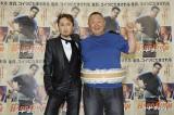 """映画『ハード・ラッシュ』の公開直前イベントに出席した(左から)""""男装姿""""のはるな愛と松村邦彦"""