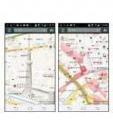 3D技術を用いて地図上に建物を映し出す「Yahoo!地図」アプリ