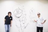 小学館ビルにラクガキをした(左から)浦沢直樹氏と藤子不二雄A氏