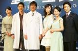 出演者一同(左から)丘みつ子、金子昇、原田龍二、東風万智子、三輪ひとみ、金子昇、風間トオル (C)ORICON NewS inc.