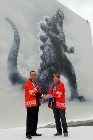 制作費は800万円の「ゴジラ」巨大壁画がお披露目 (C)ORICON NewS inc.