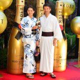 『浴衣でモエ・エ・シャンドン』オープニングイベントに出席した、日比野玲&前田典子夫妻 (C)oricon ME inc.