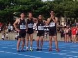 100mリレーでマスターズのアジア新記録を更新した武井壮(左から3人目)ら4人