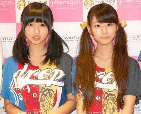日本ツインテール協会の公式アイドル・drop(左から)三嵜みさと、杉野静香 (C)ORICON NewS inc.