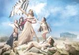 ドラクロワの名画「民衆を導く自由の女神」に扮したローラ