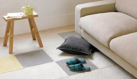 カラーや触感の違うタイルカーペットを組合せて、自分好みの空間に!