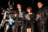 『絶狼<ZERO>-BLACK BLOOD-』Blu-ray&DVD BOX発売記念イベントに登場した銀牙騎士 絶狼、藤田玲、梨里杏、武子直輝(左から)