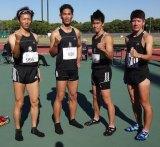 大阪・ヤンマーフィールド長居で開催された『第63回大阪マスターズ記録会』にて、4×100メートルリレーに参加した武井壮(左から3人目)