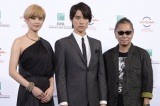 第9回ローマ国際映画祭フォトコールに登場した三池崇史監督、山崎紘菜、福士蒼汰(左から)