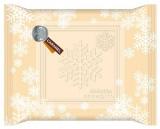 雪の結晶のモチーフを散りばめたパッケージ『メルティーキッス』(キャラメル)
