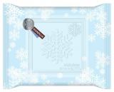 雪の結晶のモチーフを散りばめたパッケージ『メルティーキッス』(ジャンドゥーヤ)
