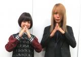 番組MC・梅澤亜季(左)、DIR EN GREY、ドラム・Shinya(右) (C)ORICON NewS inc.