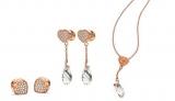 フォリフォリの「エターナルハート コレクション」 ピアスのキャッチをネックレスのトップとしても使える3ウェイピアス 税込¥18,360、別売りネックレスチェーン同¥6480
