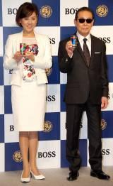 サントリーコーヒー『BOSS』新CM発表会に出席した(左から)高橋真麻、タモリ (C)ORICON NewS inc.