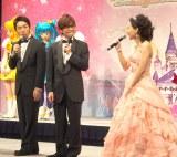 『プリキュア』シリーズ テレビ・映画合同会見の模様(写真は左から:オリエンタルラジオ、嶋村侑)