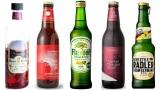 各社からフレーバービールが続々と登場 (左から)『Beer Rich ローズ&ハイビスカス』、『アップルシナモンエール』、『キリン フレビア レモン&ホップ』、『インペリアルチョコレートスタウト』、『サントリー ラドラー』