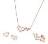 ポンテヴェキオ2015年春・新作コレクション Heart Motif<写真左より> K18PG マザーオブパール ピアス ¥49,000(税抜・以下同) K18PG マザーオブパール・ダイヤモンド ネックレス ¥74,000 K18PG マザーオブパール・ダイヤモンド リング ¥85,000