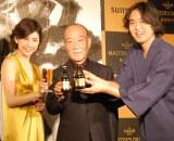 『Master's Dream Lounge』オープン発表会に出席した(左から)竹内結子、久石譲、武田双雲 (C)ORICON NewS inc.