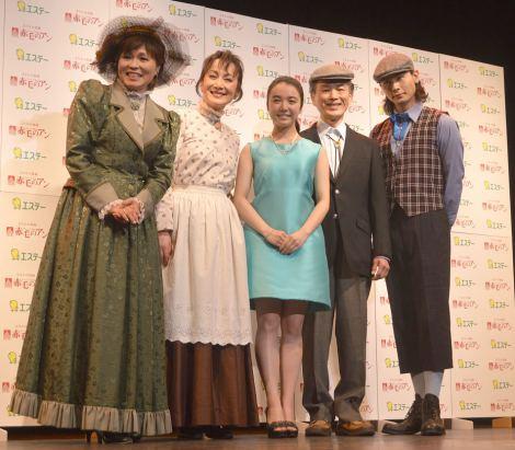ミュージカル『赤毛のアン』2015就任記念イベントに出席した(左から)大和田りつこ、旺なつき、上白石萌音、越智則英、藤田玲 (C)ORICON NewS inc.