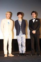 『Mr.マックスマン』の舞台あいさつに登壇した田村亮(ロンドンブーツ1号2号)、千葉雄大、増田哲英監督(左から)