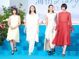 映画『海街diary』完成披露イベントに出席した(左から)広瀬すず、長澤まさみ、綾瀬はるか、夏帆 (C)ORICON NewS inc.