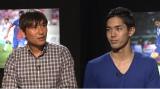 5月24日、『やべっちF.C.』で中田浩二氏(左)と武藤嘉紀(右)のスペシャル対談を放送(C)テレビ朝日
