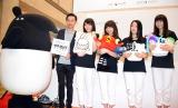 LAIMO(左)と初共演を果たして満足げな東京女子流 (C)ORICON NewS inc.