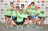 駅伝『RUN FORWARD KANPEI みちのくマラソン2015』の発表会見を行った間寛平(中央)