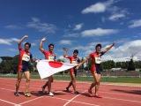 世界マスターズで金メダルを獲得したリレー日本代表チーム