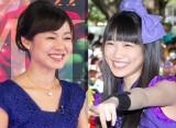 NHK『あさイチ』(月〜金 前8:15)でももいろクローバーZ・高城れに(右)の無茶ぶりに切り返した有働由美子アナウンサー(左) (C)ORICON NewS inc.
