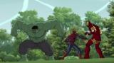 『アルティメット・スパイダーマン ウェブ・ウォーリアーズ』第23話(9月8日放送)より。(左から)ハルク、スパイダーマン、アイアンマン(C)2014 MARVEL
