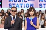 『Mステ』番組初の10時間特番、9月23日放送(左から)司会のタモリ、弘中綾香アナウンサー