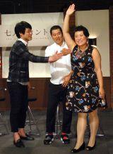 NHK・BSプレミアムのコント番組『七人のコント侍』会見に出席した(左から)麒麟・川島明、とにかく明るい安村、フォーリンラブ・バービー (C)ORICON NewS inc.
