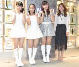 NHKワールドTV『J-MELO』の10周年突入取材会に出席した(左から)野中美希、小田さくら、譜久村聖、May J. (C)ORICON NewS inc.