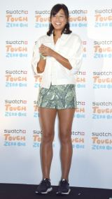 『コネクティッド ウォッチ Swatch Touch Zero One』記者発表会に出席したビーチバレーボーラーの坂口佳穂選手 (C)ORICON NewS inc.