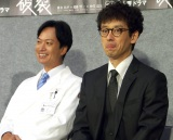 NHKドラマ『破裂』試写会に出席した(左から)椎名桔平、滝藤賢一
