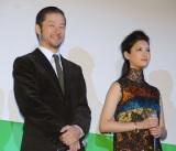 映画『グラスホッパー』完成披露試写会に出席した(左から)浅野忠信、菜々緒 (C)ORICON NewS inc.
