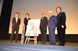 『京都国際映画祭2015』で映画『追憶』の舞台あいさつに登壇した(左から)奥山和由氏、凰稀かなめ、小栗謙一監督、升本喜年氏、小林研一郎氏 (C)ORICON NewS inc.