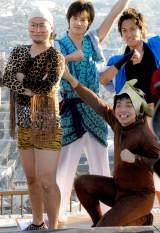 『箕面温泉50周年』記念イベントにゲスト出演したバンビーノ(左から)石山大輔、藤田裕樹 (C)ORICON NewS inc.