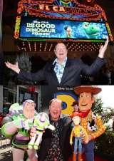 ディズニー/ピクサー最新作『アーロと少年』ワールドプレミアに登場したジョン・ラセター。毎回作品に合わせたアロハシャツで楽しませてくれる (C)2015 Disney/Pixar. All Rights Reserved.