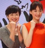 『第66回NHK紅白歌合戦』の司会に決定した(左から)有働由美子アナウンサー、綾瀬はるか (C)ORICON NewS inc.