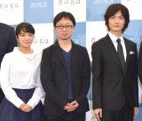アニメ映画『君の名は。』の製作発表会に出席した(左から)上白石萌音、新海誠監督、神木隆之介 (C)ORICON NewS inc.