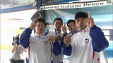 『フィンスイミングワールドカップマスターズ2015』で銅メダルを獲得したオードリー・春日俊彰 (C)TBS